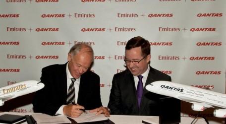 20120906 - President of Emirates Tim Clark and Qantas CEO Alan Joyce sign new global aviation partnership agreement.