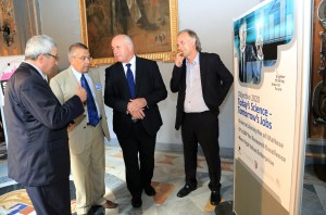 Deputy Speaker The Hon Censu Galea (third from left) being shown around the Science in the House exhibition accompanied by (from left) Project Coordinator for Science in the City and Chair of the Malta Chamber of Scientists Prof. Alex Felice, Chief Executive of the Research Trust (RIDT) Wilfred Kenely and University's Pro-Rector Research and Innovation Prof Richard Muscat.