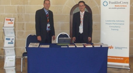 MJN JRN on FranklinCovey Malta stand