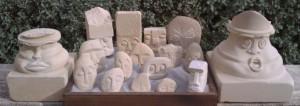 Karin Grech - 'Guards' for house, garden, desk or handbag handcarved from recycled Maltese limestone