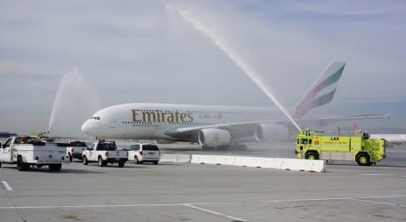 116 - A Water Cannon Salute Welcomes the Emirates' A380 in Los Angeles