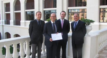 Left to right Conrad Cassar, Michael Kamsky, Jonathan Borg & Oliver Degiorgio presenting Eco certificate