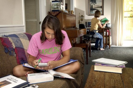 KRT LIFESTYLE STORY SLUGGED: FAM-SCHOOLCHOICE KRT PHOTOGRAPH BY TIM DOMINICK/THE STATE (August 10) Pinkie Adams, 15, left, works on her math while her sister, Julie Ann, 13, works with the computer and her spanish lesson at their Columbia, South Carolina, home, on Friday morning, July 23, 2004. Their parents, Bobby and Susann Adams homeschool their three daughters in an attempt  to have more family time. Gov. Mark Sanford has proposed legislation that would give parents a tax incentive for removing their kids from public schools in favor of homeschooling them or sending them to private or parochial schools. (nk) 2004 (Diversity)