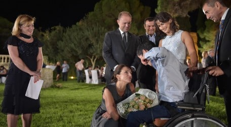 On the occasion of the 25th Anniversary of Dar il-Kaptan, the Prime Minister and Mrs Muscat welcome residents of Dar il-Kaptan at Girgenti Palace