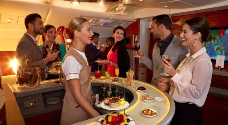 Emirates A380 Onboard Lounge for First and Business Class